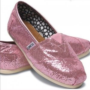 Toms Pink Sparkle Glitter Slip On Sneaker Shoes 8
